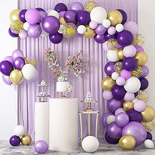 Juego de 121 globos de confeti de color morado, dorado, blanco, dorado, ideales para bodas, fiestas de cumpleaños, compromiso, aniversario, decoración de vacaciones