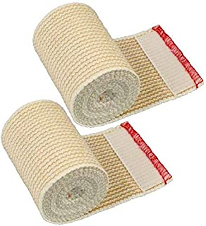 """GT Cotton Elastic Bandage Wrap (3"""" Wide, 2 Pack) with Hook and Loop Fasteners at Both Ends 