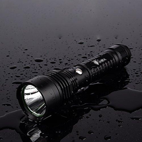 XM-L T6 LED rechargeable extérieur maison lampe de poche armée chasse xénon noir 17,7 Cm