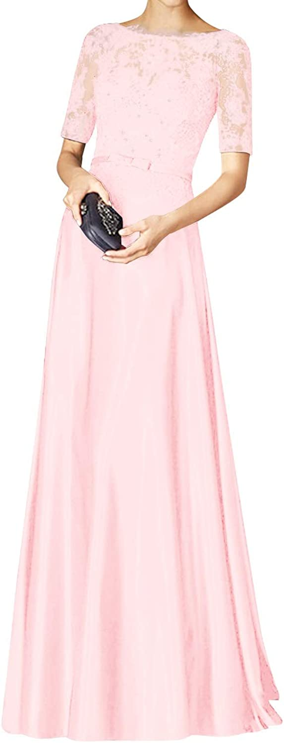 Bess Bridal Women's Lace Beaded Short Sleeves Formal Prom Evening Party Dress