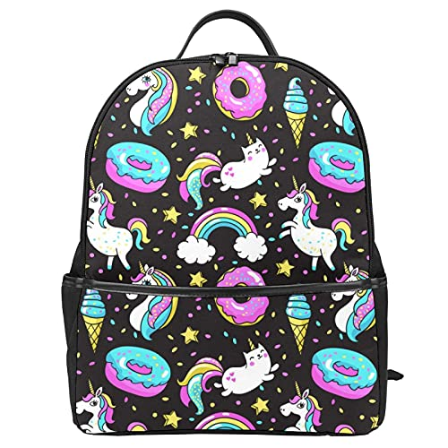 Mochila escolar Unicornio Unicat Donut Rainbow Bolsa de viaje para mujeres, adolescentes, niños, niñas, escuela, mochila para ordenador portátil para el trabajo