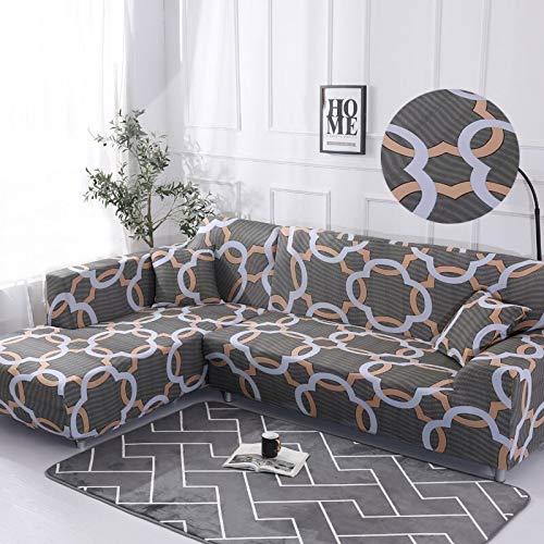 WXQY Patrón geométrico en Forma de L Funda de sofá Modular sofá Toalla Familia decoración antiincrustante Funda de sofá Todo Incluido A10 4 plazas