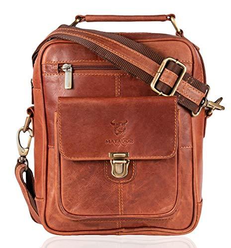MATADOR Echt Leder Herren Umhängetasche Damen Schultertasche Antik Braun Ledertasche Hochwertige Henkeltasche Arbeittasche