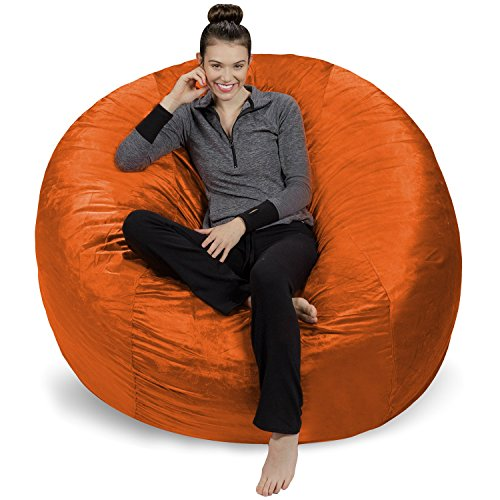 Sofa Sack - Plush Ultra Soft Bean Bags Chairs for Kids, Teens, Adults - Memory Foam Beanless Bag Chair with Microsuede Cover - Foam Filled Furniture for Dorm Room - Tangerine 6'