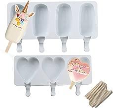 QELEG 2 Pack Classic Heart Silicone Easy Cream Mini Ice Cream Bar Molds with 40 Cream Wooden Sticks