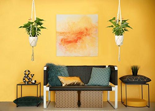 Luxbon 4er Set Makramee Blumenampel Baumwollseil Hängeampel Blumentopf Pflanzen Halter Aufhänger für Innen Außen Decken Balkone Wanddekoration – 41 Zoll, 4 Beine - 5