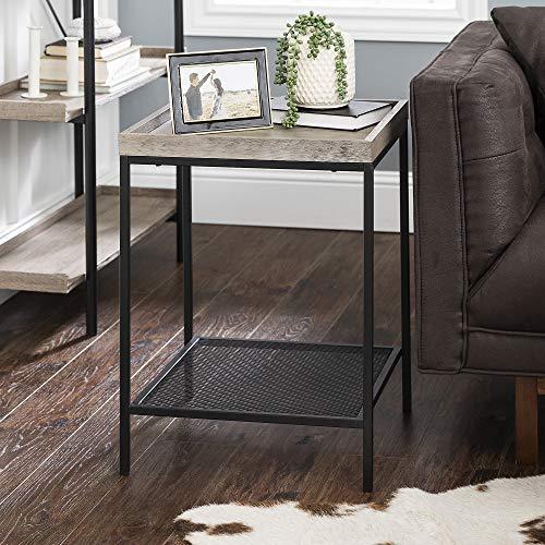 Eden Bridge Designs Modern Industrial Square Side Table/ Tray Table/ Nightstand for Living Room or Bedroom, Laminate, Metal Legs, Mesh Metal Shelf - Grey Wash