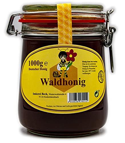 ImkereiBeck® - Echter Deutscher Imkerhonig im 1kg / 1000g Honigtopf - Honig vom Imker aus Bayern im wiederverwendbarem hochwertigem Bügelglas (Waldhonig)