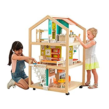 KidKraft So Stylish Mansion Wooden Mid-Century Dollhouse with EZ Kraft Assembly Open-Concept Wheeled Base and 42 Accessories Gift for Ages 3+