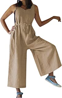 Alangbudu Women Soft Loose Cotton Linen Comfy Sleeveless Jumpsuits Tank Top Wide Leg Long Pants Baggy Overalls Rompers