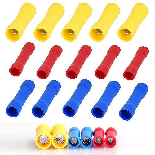 IGRMVIN 100 Stück Stoßverbinder Quetschverbinder 0,5-1,5mm²/1,5-2,5mm²/4,0-6,0mm² Stossverbinder Isoliert Kabelschuhe Wärmeschrumpfende Verbinder Rundsteckhülsen Vollisoliert (Rot+Gelb+Blau)