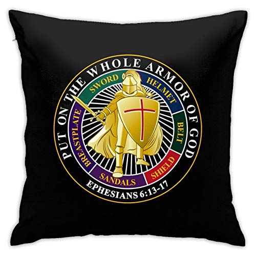 SGDIKL Put On The Whole Armor of God Throw Pillow Cushion Covers 18x18inchs,Throw Pillow Cases for Couch Bedroom Car Cowboy