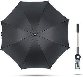 Fengzio Universal Sonnenschirm für Kinderwagen & Buggy 75 cm Durchmesser Kinderwagen Regenschirm mit Sonnenschutz und Regenschutz funktional UV Schutz 50 und 360°Drehung - Schwarz