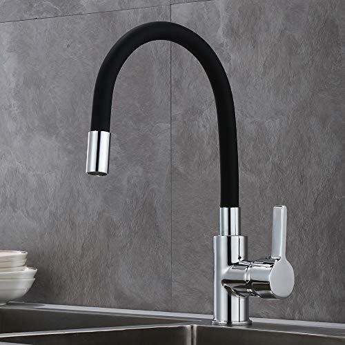GAVAER Wasserhahn Küche mit Flexibler Verformbar Silikonschlauch, 360° Schwenkbarer Küchenarmatur, Single Handgriff Heißem und Kaltem Einstellbarer Mischbatterien für Küche. Messing Verchromt.