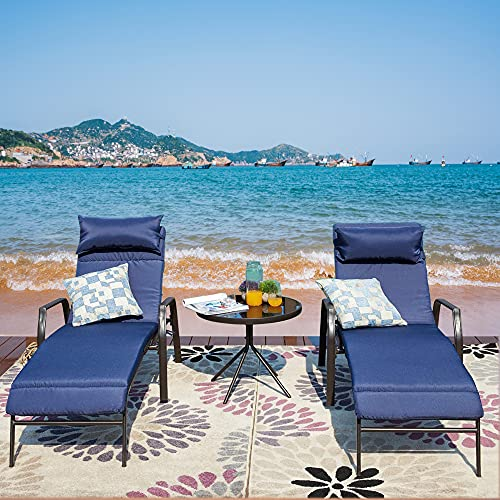 LOKATSE HOME 3 Pieces Outdoor Patio Chaise Lounges Chairs Set Adjustable with Folding Table, Dark...