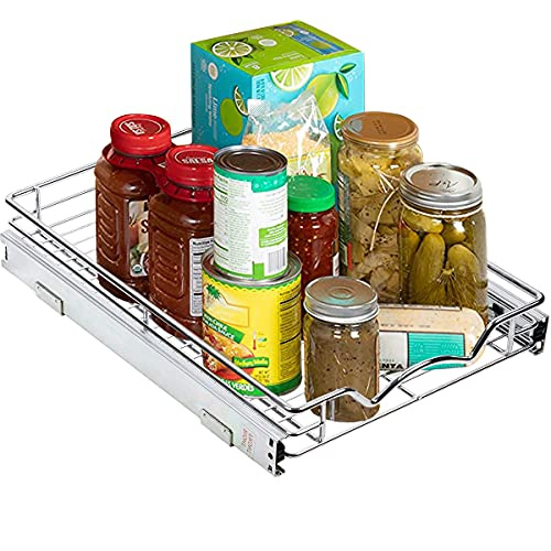 """Richards Homewares Pull Out Drawer Cabinet Organizer – SlideOut Pots and Pans Sliding Shelf - Chrome One Tier 14'W x 18' D x 3.2""""H, Requires At Least 15"""" Opening"""