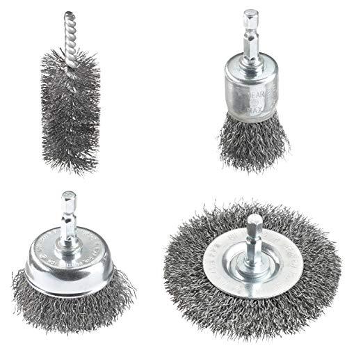 kwb 597530 Drahtbürsten-Set für Bohrmaschinen mit E 6.3-Aufnahme aus Stahldraht, Aufsätze für Akkuschrauber für Metall z.B. als Entroster o. Lackentferner