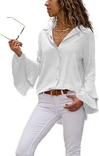 Women's Bell Sleeve Blouse, V Neck Long Sleeve Button Down Cute Chiffon Tops