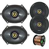 Car Speaker Set Combo of 2 Kicker CS654 6.5' 600W 2-Way CS-Series Car Audio Speakers, 2 Kicker CS684 6x8' 450W 2-Way Car Coaxial Stereo Speakers, Enrock 50 Foot 16-Gauge Speaker Wire