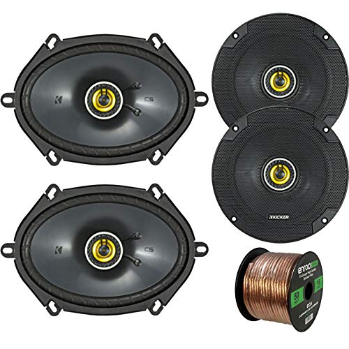 Car Speaker Set Combo of 2 Kicker CS654 6.5' 600W 2-Way CS-Series Car Audio Speakers, 2 Kicker CS684...