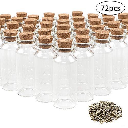 CDWERD 72 Stück 20ml Mini Glasflaschen mit Korken Wunsch Flaschen Nachrichtenflaschen Glasfläschchen mit 100 Augenschrauben für DIY Handwerk Babydusche Hochzeit Partys Geburtstagsfeier Geschenk