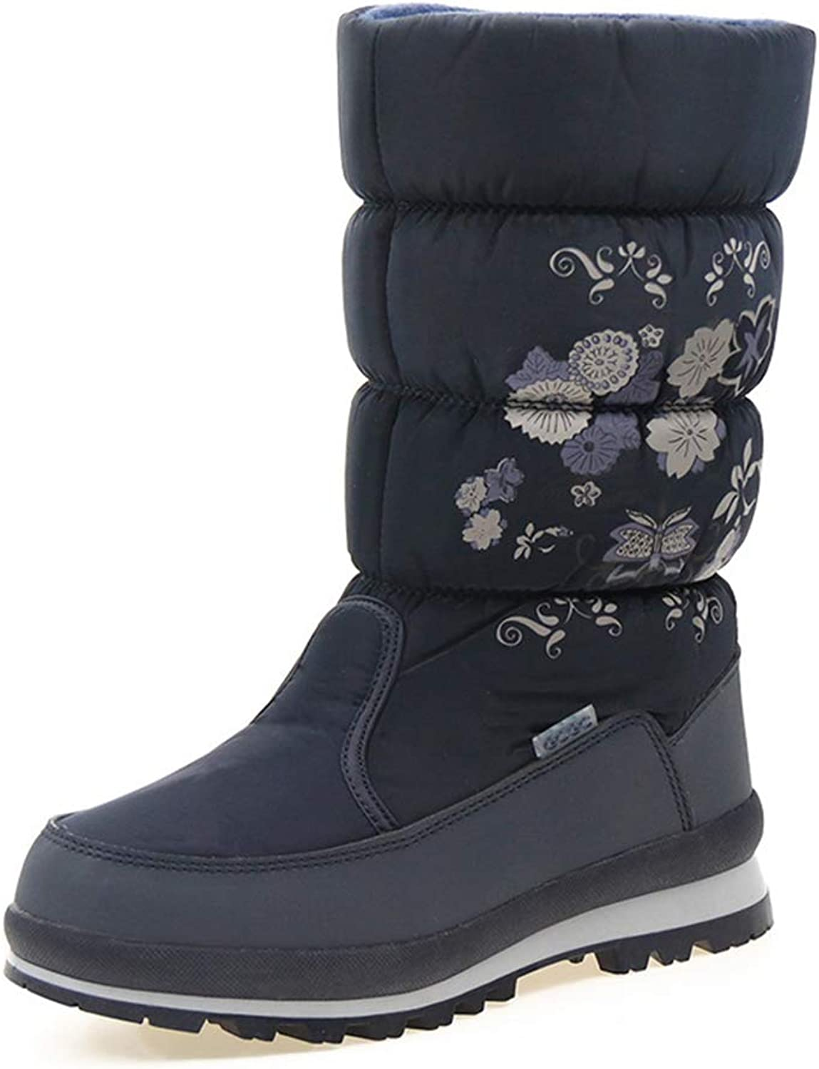 Women's Snow Boots Zipper Flower Floral Winter Waterfroof Plush Warm Anti-Slip Round Toe Female Mid Calf Boots