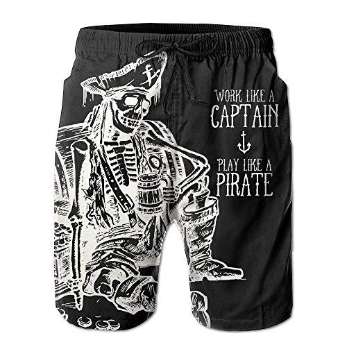 Heren Skeleton Piraat Holding Bier Grappige Zomer Ademende sneldrogende zwemmen Trunks Beach Shorts Board Shorts