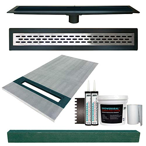 36' x 60' Linear Shower Slope Kit Left With Stainless Steel Oval Style Linear Drain, Includes Waterproofing Accessory Kit, and 4' x 4' x 61' Shower Curb | Cut-to-Fit Linear Shower Pan in the Field