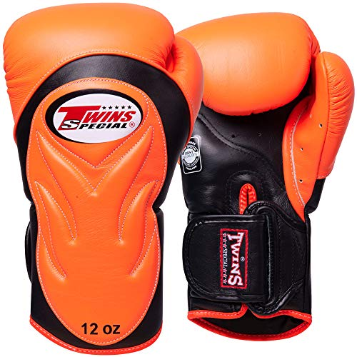 Twins Boxhandschuhe, Premium, BGVL-6, orange-schwarz, Boxing Gloves, Muay Thai Size 16 Oz