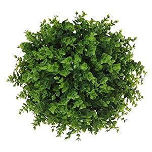 Momkids 6 Pcs Artificial Flowers Outdoor UV Resistant Fake Plants Faux Plastic Greenery Shrubs Hanging Flower Trough for Home Office Outside Balcony Patio Garden Decoration