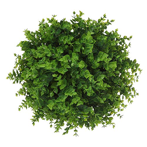 Momkids 6 Pcs Artificial Boxwood Stems Outdoor UV Resistant Greenery Bush Fake Plastic Plants for Home Officer Balcony Patio Garden Farmhouse Decoration(Green)