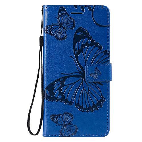 DENDICO Hülle für Galaxy A8S, PU Leder Handyhülle Schutzhülle mit Standfunktion & Kartenfach für Samsung Galaxy A8S - Blau