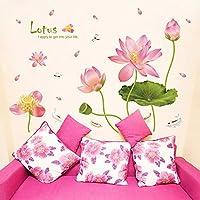 ピンクの蓮の花の壁のステッカーリビングルームの緑の葉防水テレビの背景アートデカール寝室大型Pvc