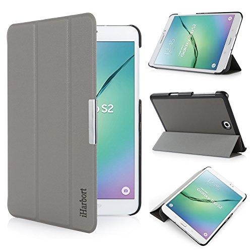 iHarbort Samsung Galaxy Tab S2 8.0 Custodia - Slim Ultra Leggero Smart-Guscio Porta Stand Custodia in Pelle per Samsung Galaxy Tab S2 8.0 T710 Pollici, con Smart Auto Sveglia/Sonno Funzione, Grigio