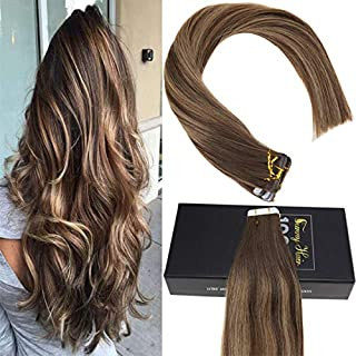 Sunny 16inch Balayage Hair Extensions Tape in Seamless Human Hair Extensions #4 Dark Brown Fading to #27 Caramel Blonde with #4 Double Sided Tape in Extensions 20g 50pcs