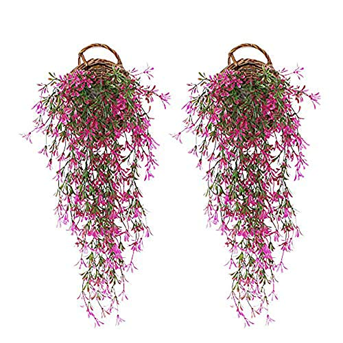 JustYit 2pcs Plantas Artificiales Exterior Hiedra Hojas Vid Artificial Guirnalda Plantas Decoración Verde de Hogar Jardín Valla Boda Fiesta Ventana Escalera Exterior Plantas Hiedra Artificial