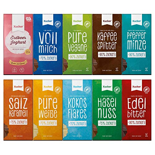 Xucker Schokoladen-Mix, Tafelschokolade 10er Bundle, Xylit statt Zucker, Probierset mit Erdbeere Joghurt, Vollmilch, Pfefferminze, Salz Karamell, Haselnuss