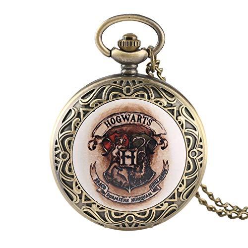 ZMKW Film Scudo Hogwarts School of Witchcraft And Wizardry Crest Bronzo Antico Orologio da Tasca Uomo Donna Collana Orologi, predefinito