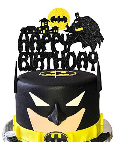 KAPOKKU Black Bat Superhero Happy Birthday Cake Topper for Cartoon Batman Birthday Themed Cake Decorations Teenager Girls Boy's Gift Birthday Party Supplies