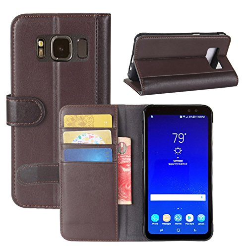 HualuBro Samsung Galaxy S8 Active Hülle, Echt Leder Leather Wallet HandyHülle Tasche Schutzhülle Flip Hülle Cover für Samsung Galaxy S8 Active Smartphone (Braun)