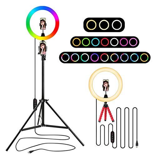 Luz de Anillo LED RGB con 1.6m Soporte Tripod Lámpara de Anillo Selfie Colorido para Youtube Tiktok Photography Party Live Youtube TIK Tok (Color : 1.6m Set)