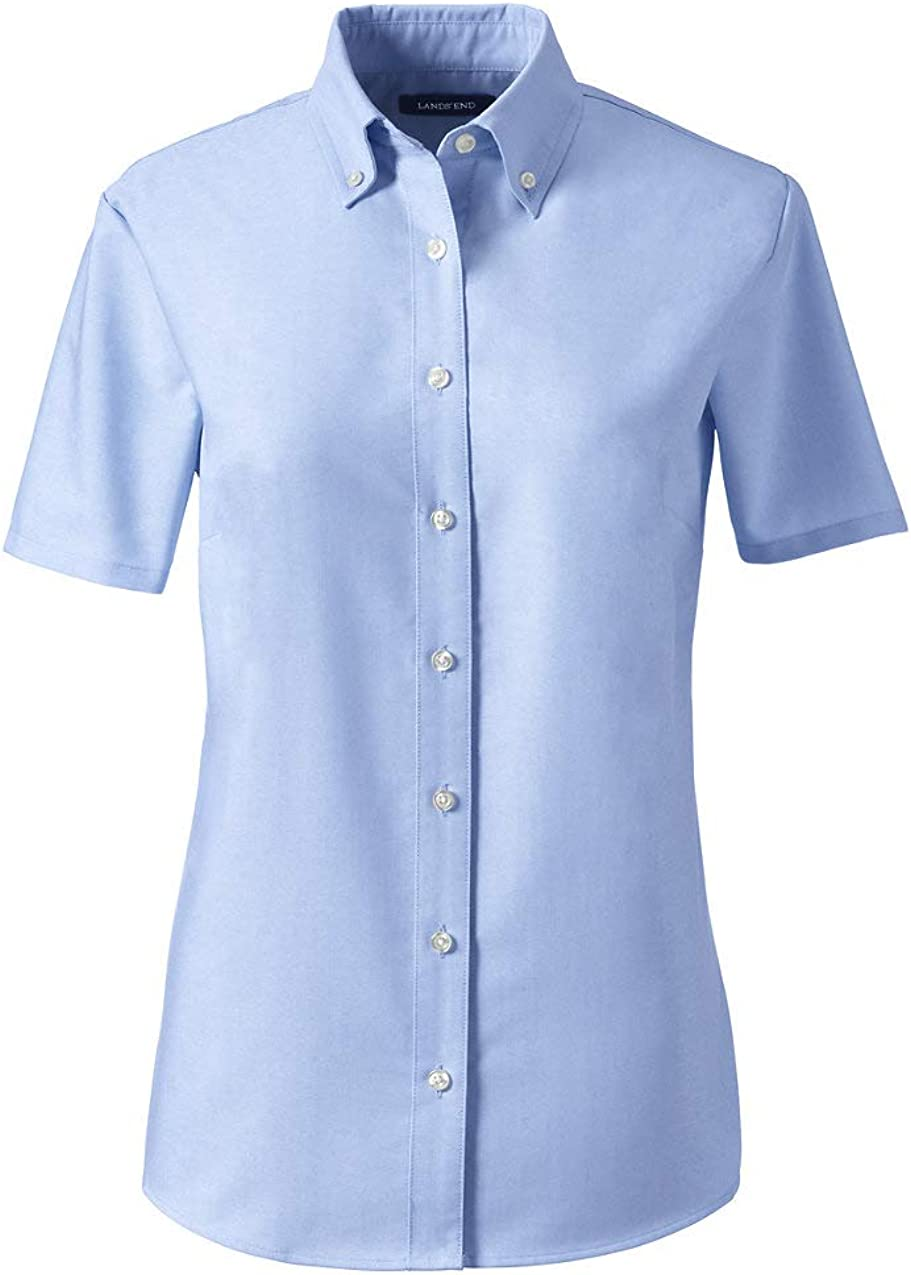 Lands' End School Uniform Women's Short Sleeve Oxford Dress Shirt