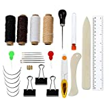 28 Pieces Bookbinding Tools Set Large-eye Curved Needles Thimble Ring Needle Threader Waxed Thread Clipper...