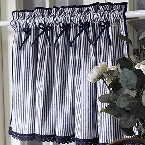 TECB Visillo de cocina de algodón, corto, estilo rústico, color azul, opaco, para dormitorio o bistro (1 pieza)