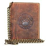 Frédéric & Johns ® - Portafoglio biker in vera pelle di vitello da uomo - con catena in metallo - portacarte e portamonete - alta qualità (marrone)