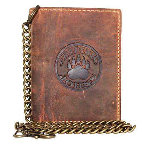 Frédéric&Johns ® - Portafoglio da uomo in vera pelle di vacchetta, con catena in metallo, porta carte e porta monete, alta qualità (Marrone)
