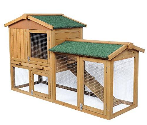 EUGAD Conejera de Exterior Madera Gallineros Casa para Conejos Cobayas Hámster Mascotas Jaula para Conejo Animales Pequeños Impermeable 2 Niveles, 3 Puertas 85x147x53cm RojoBrillante 0034HT