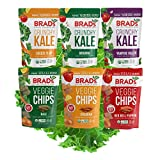 Brad's Plant Based Organic Crunchy Kale and Veggie Chips, Mixed Variety Pack (Pack of 6)