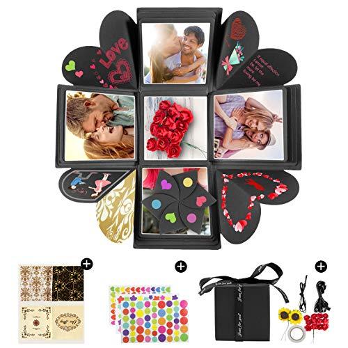 Czoele Explosion Box, DIY Álbum de Fotos Hecho a Mano Sorpresa Explosión Caja de Regalo Scrapbook Caja,Caja Sorpresa para Cumpleaños Día de San Valentín AniversarioBodas Compromiso Navidad, Negro