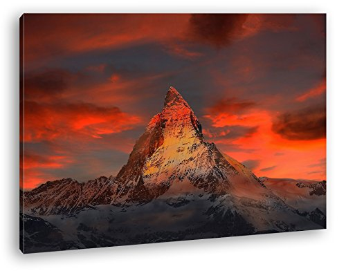 Matterhorn in der Schweiz Format: 120x80 als Leinwandbild, Motiv fertig gerahmt auf Echtholzrahmen, Hochwertiger Digitaldruck mit Rahmen, Kein Poster oder Plakat